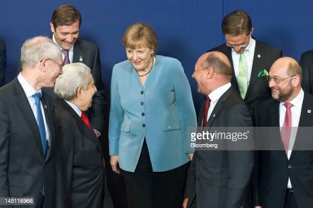 Herman Van Rompuy president of the European Council left to right Pedro Passos Coelho Portugal's prime minister Dimitris Christofias president of...