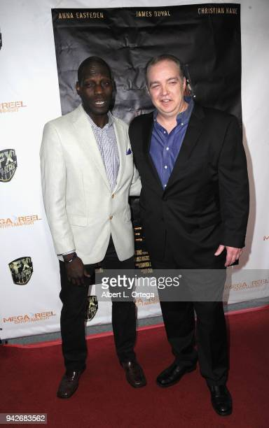 Herman Wilkins and Matthew D Hunt arrive for the Los Angeles Premiere of 'Miles To Go' held at Writers Guild Theater on April 5 2018 in Beverly Hills...