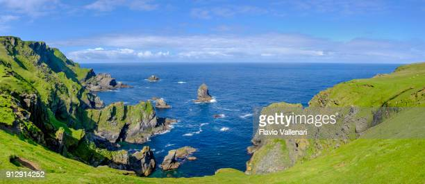 hermaness national nature reserve, a dramatic cliff-top setting and a refuge of thousands of seabirds; it is the britain's most northerly point, located on the island of unst, shetland islands, scotland (5 shots stitched). - isole shetland foto e immagini stock