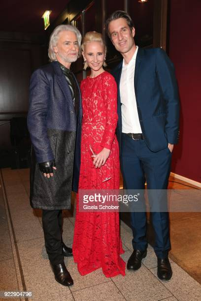 Hermann Buehlbecker and Anne Heche and Oliver Fritz during the BUNTE BMW Festival Night 2018 on the occasion of the 68th Berlinale International Film...