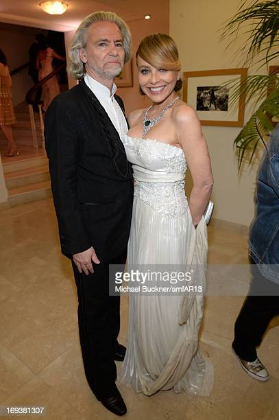 Hermann Buehlbecker and Ornella Muti attens 'Moncler The After Party To Benefit amfAR' during The 66th Annual Cannes Film Festival at Hotel du...
