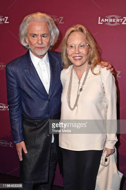 Hermann Buehlbecker and US actress Faye Dunaway attend the red carpet arrival at Lambertz Monday Night Party 2020 at Alter Wartesaal on February 3...