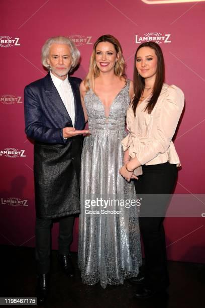 "Hermann Buehlbecker, CEO of Lambertz, Kiera Chaplin and her sister India Chaplin Van Diessen during the Lambertz Monday Night 2020 ""Wild Chocolate..."