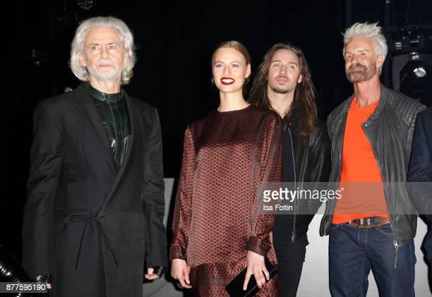 Hermann Buehlbecker, Cosima Auermann, Gil Ofarim and Michael Reh during the presentation of the new Lambertz Fine Art Calendar 2018 at...