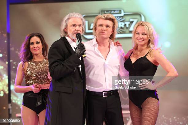 Hermann Buehlbecker Hans Klok and Pamela Anderson during the 20th Lambertz Monday Night 2018 at Alter Wartesaal on January 29 2018 in Cologne Germany