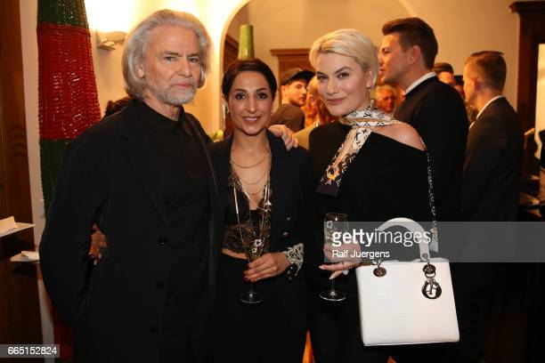 Hermann Buehlbecker Laila Hamidi and Kriemhild Siegel attend the La Martina get together at their showroom on April 5 2017 in Duesseldorf Germany