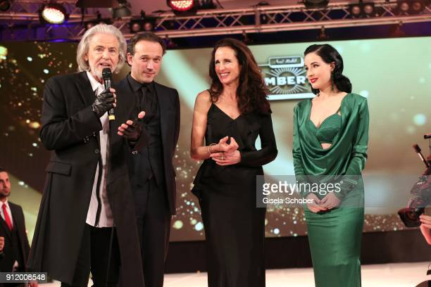 Hermann Buehlbecker Vincent Perez Andie MacDowell and Dita von Teese during the 20th Lambertz Monday Night 2018 at Alter Wartesaal on January 29 2018...