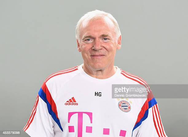 Hermann Gerland poses during the official FC Bayern Muenchen team presentation at Saebener Strasse on August 9 2014 in Munich Germany