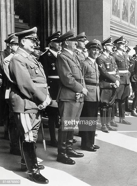 Hermann Goering Adolph Hitler Joseph Goebbels and Hienrich Himmler stand in the front rank of Nazi officials at a ceremony just prior to Hitler's...