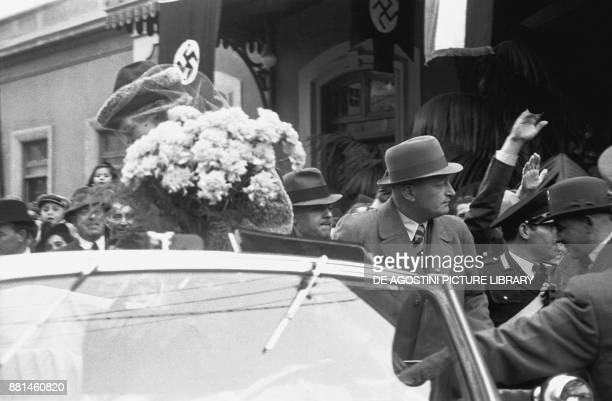 Hermann Goering arriving at the station with his wife Emmy Sonnemann for a holiday in Sanremo March 5 Italy 20th century