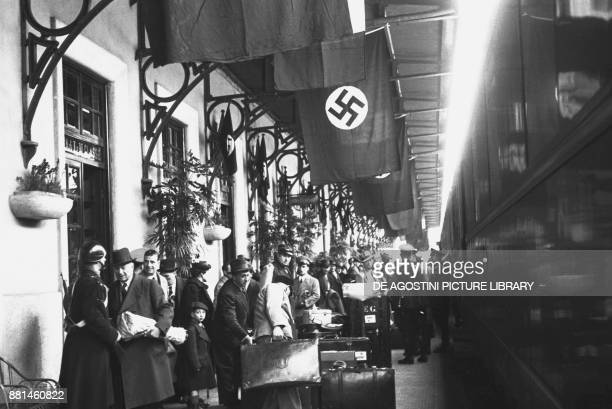 Hermann Goering arriving by train with his wife Emmy Sonnemann for a holiday in Sanremo March 5 Italy 20th century