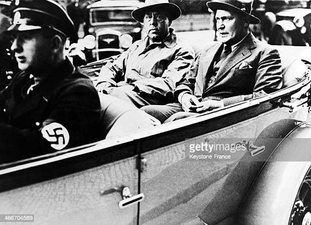 Hermann Goering right presiding officer of the Reichstag and Gregor Strasser Reich Organization leader leaving the Reichstag after its dissolution on...