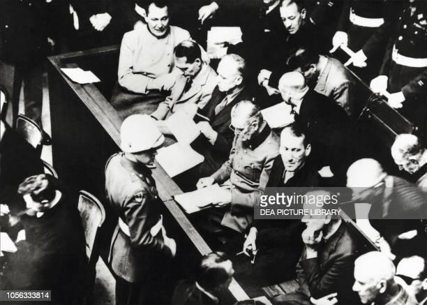 Hermann Goering, Rudolf Hess, Joachim Ribbentrop and Wilhelm Keitel at the Nuremberg Trials Germany, 20th century.