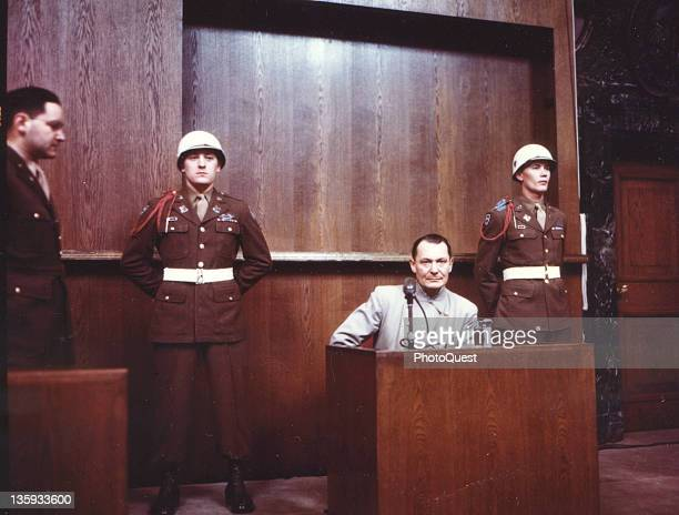 Hermann Goering testifies in his own defense during the war crimes trial of high-ranking Nazi leaders, Nuremberg, Germany, 1946.