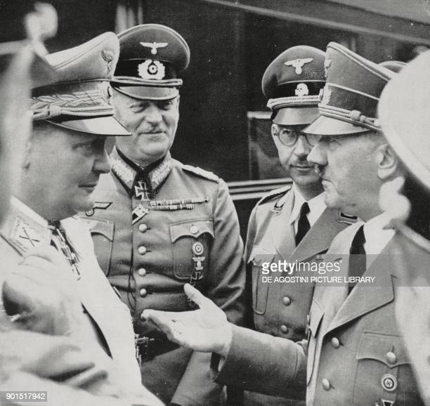 Hermann Goering Wilhelm Keitel Heinrich Himmler and Adolf Hitler in TauchenSchauereck April 20 Austria World War II from L'Illustrazione Italiana...