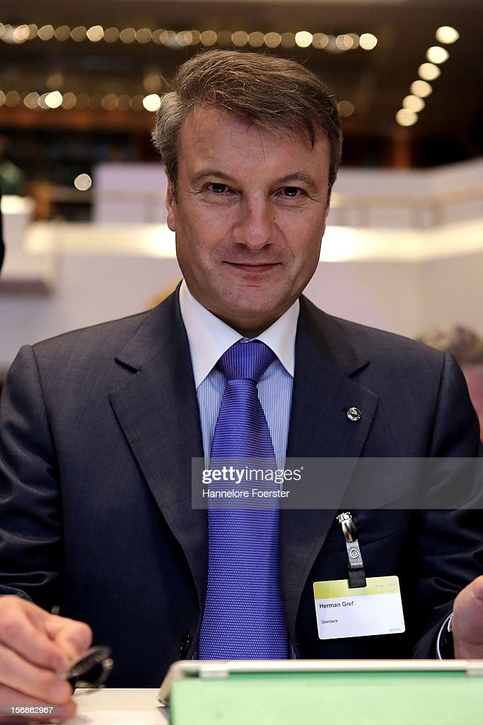 Hermann Gref, chairman of the board and CEO Skerbank, Moskauw, attends the European Banking Congress on November 23, 2012 in Frankfurt, Germany. Bankers from across Europe are meeting as Europe continues to struggle with weak economies in the Eurozone and governmens remain locked in disagreement over the European Union 2013 budget.