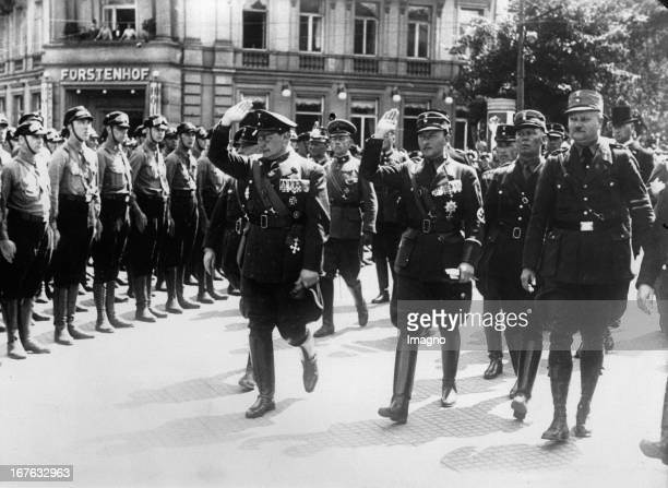 Hermann Göring and Prinz Philipp von Hessen inspect the Front der nationalen Verbände. Kassel. June 8th 1933. Photograph. Minister Hermann Göring und...