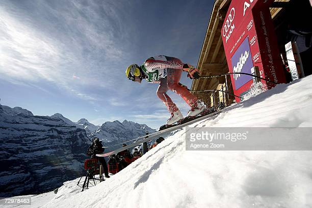 Hermann Maier from Austria in action during the FIS Skiing World Cup Men's Downhill Training on January 11 2007 in Wengen Switzerland