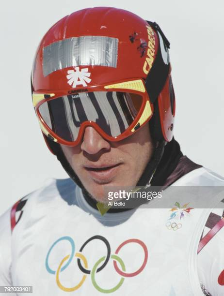 Hermann Maier of Austria during training for the Men's Downhill competition on 5 February 1998 during the XVIII Olympic Winter Games at Hakuba Nagano...