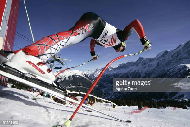 Hermann Maier of Austria in action during training for the FIS Alpine Ski World Cup Men's Downhill on January 7 2005 in Chamonix France