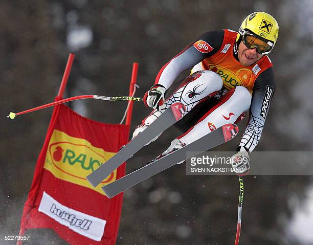 Hermann Maier of Austria jumps to win the FIS World Cup Downhill in Kvitfjell, 05 March 2005. AFP PHOTO / SVEN NACKSTRAND .