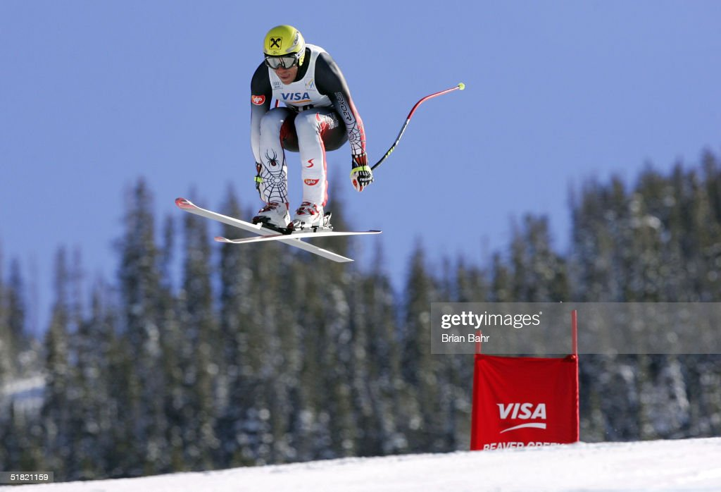Hermann Maier #30 of Austria skies to a 10th place finish during the mens World Cup Downhill on December 3, 2004 on the Birds of Prey course at Beaver Creek, Colorado.