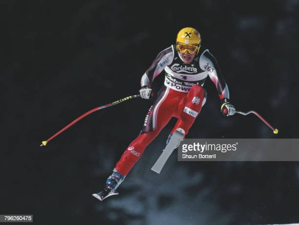 Hermann Maier of Austria skiing goes airborne over the jumps skiing during the International Ski Federation Men's Downhill competition at the FIS...