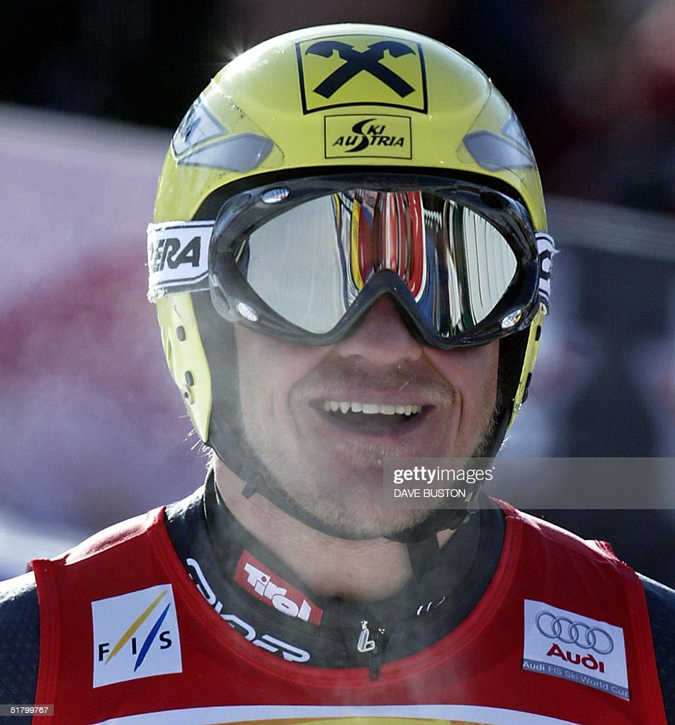 Hermann Maier of Austria stands in the finish area after his run on the Men's Super-G course 28 November 2004 at the Lake Louise Ski Resort in Lake Louise, Canada. Maier had a time of 1:28.32 to place second in the event.
