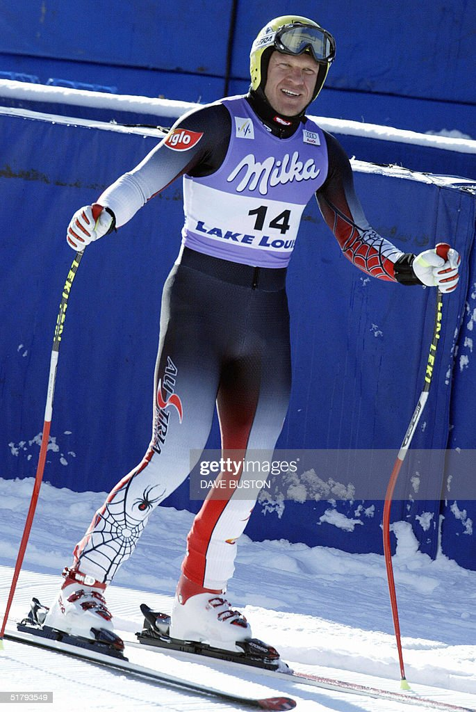 Hermann Maier of Austria waits in the finish area after his run on the Men's Downhill course 25 November 2004 during the second training run at the Lake Louise Ski Resort in Lake Louise, Canada, site of the first men's downhill of the season. Maier had a time of 1:44.13 to place second in the training run. The first downhill will take place on 27 November 2004.