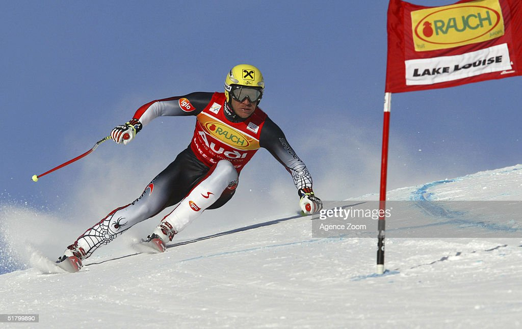 Hermann Maier skis during day two of the FIS Ski World Cup Mens Super Giant Slalom competition on November 28, 2004 in Lake Louise, Canada.