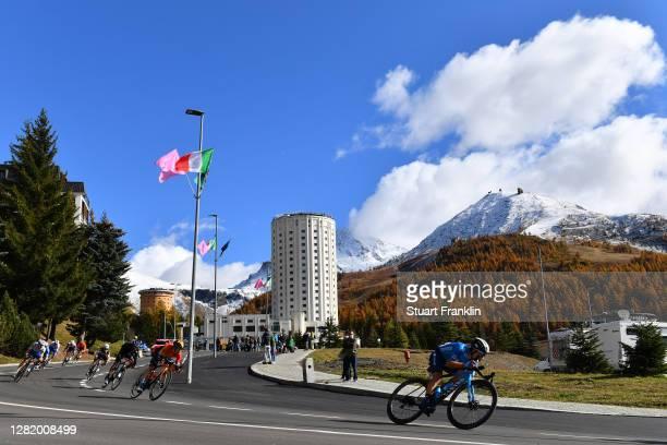 Hermann Pernsteiner of Austria and Team Bahrain - Mclaren / Einer Augusto Rubio Reyes of Colombia and Movistar Team / Sestriere / Landscape /...