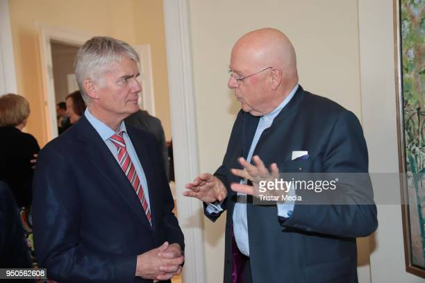 Hermann Reichenspurner and Dieter Lenzen attend the celebration of Michael Otto's 75th birthday party on April 23 2018 in Hamburg Germany