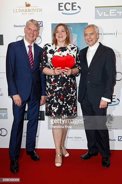Hermann Reichenspurner, Katharina Fegebank and John Neumeier attend the 'Das Herz im Zentrum' Charity Gala on June 9, 2016 in Hamburg, Germany.