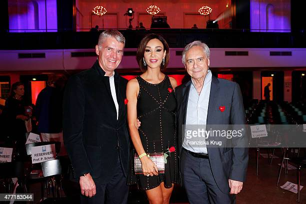 Hermann Reichenspurner, Verona Pooth and John Neumeier attend the 'Das Herz im Zentrum' Charity Gala on June 14, 2015 in Hamburg, Germany.