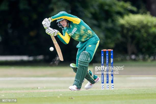Hermann Rolfes of South Africa bats during the ICC U19 Cricket World Cup Warm Up match between India and South Africa at Hagley Park on January 9...