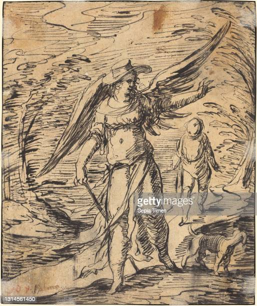 Hermann Weyer, , German, 1596 - c. 1621, Tobias and the Angel, c. 1616/1617, pen and black ink on laid paper, overall: 17.4 x 14.5 cm .