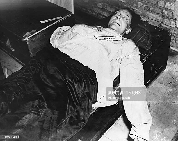 Hermann Wilhelm Goering the German Third Reich's Field Marshal and commander of the German air force lies dead on his bed after commiting suicide a...