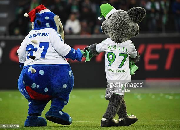 Hermannthe mascot of Hamburg and Wolfi the mascot of Wolfsburg are pictured together during the Bundesliga match between VfL Wolfsburg and Hamburger...