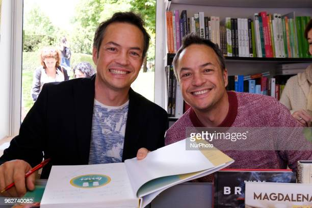hermanos Torres attends during the book fair in the Retiro Park in Madrid on May 26 2018 in Madrid Spain