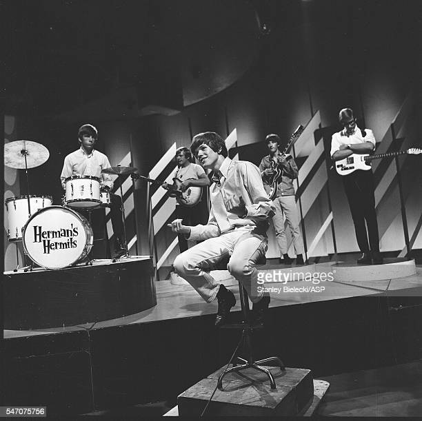 Herman's Hermits on Top Of The Pops TV show London 1965 LR Barry Whitwam Karl Green Peter Noone Keith Hopwood Derek Leckenby