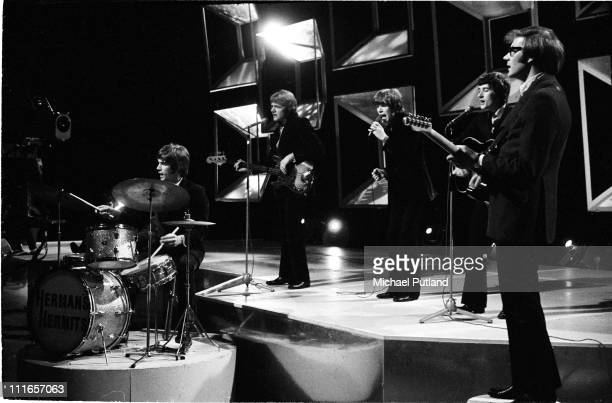 Herman's Hermits perform on BBC TV Top of the Pops on 24th April 1969 LR Barry Whitwam Karl Green Peter Noone Keith Hopwood Derek Leckenby