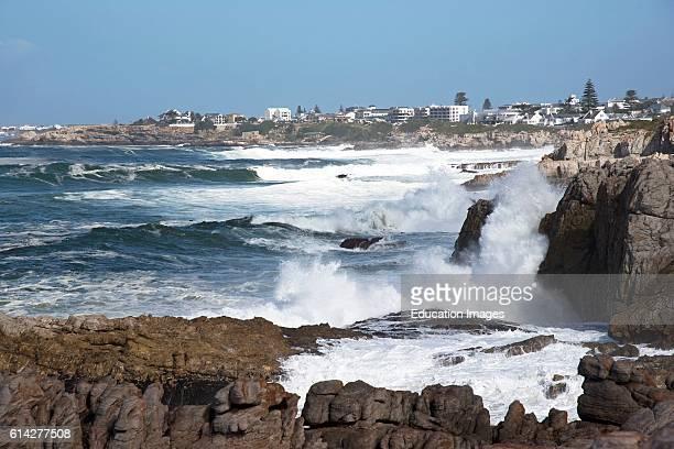 Hermanus Western Cape South Africa the Atlantic Ocean Waves Crash Against the Coastline at Hermanus a Popular Resort In the Cape Overberg Region of...