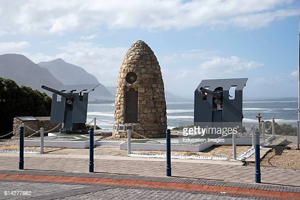 Hermanus Western Cape South Africa The War Memorial on The Seafront In Hermanus And Two Naval Guns Which Face Inward Towards The Town The Guns Point...