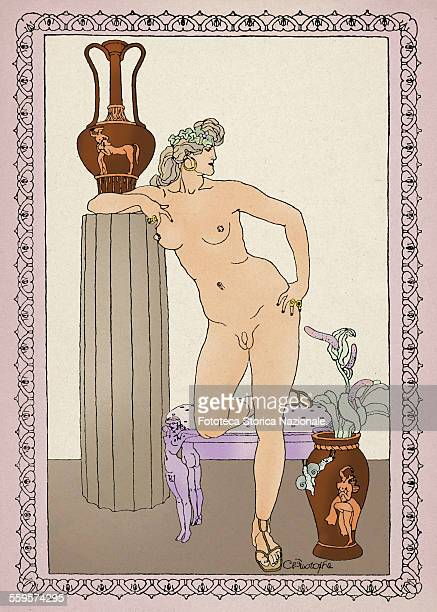 Hermaphrodite a character from 'Satyricon' by Petronius Arbiter version colorized from an illustration by Franz Christophe for a modern print edition...