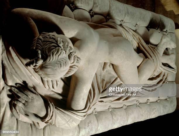 Hermaphrodite asleep Roman replica of an original of the 2nd century BC Greek Art Louvre Museum Greece