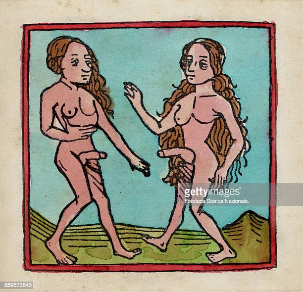 Hermaphrodite beings from the famous travel book of John Mandeville written between 1357 and 1371 Engraving colorized United Kingdom approx 1371