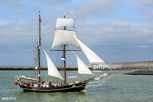 Hermaphrodite brig / schooner Jantje during the maritime festival Oostende voor Anker / Ostend at Anchor 2013 Belgium