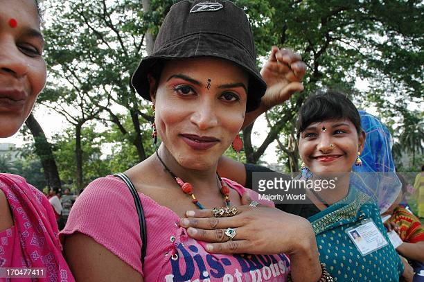 A hermaphrodite or hijra participates in a rally organized by sex workers who are demanding their rights at the central Shahid Minar in Dhaka...