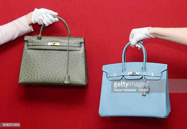 17494c976cc A Hermes Birkin and a Hermes Kelly at a pre auction photo calls for Hermes  handbags