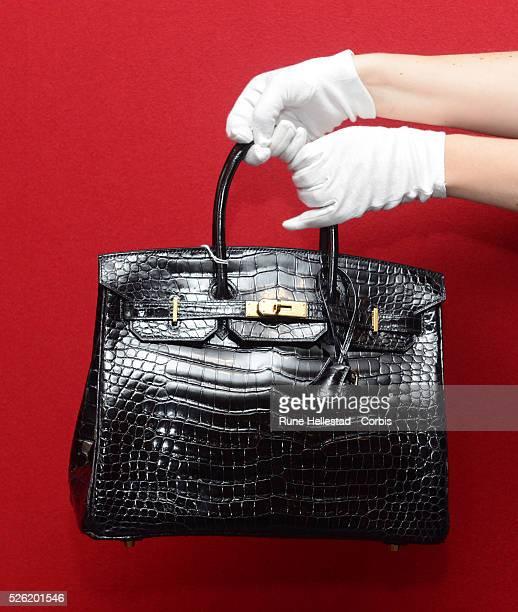 A Hermes Birkin at a pre auction photo calls for Hermes handbags at Bonhams Knightsbridge